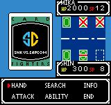SNK vs. Capcom: Card Fighters' Clash - SNK Cardfighter's Version Neo Geo Pocket Color Options in the card battle screen