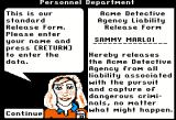 Where in Time is Carmen Sandiego? Apple II Signing up in the ACME Detective agency.