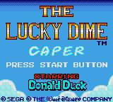 The Lucky Dime Caper starring Donald Duck Game Gear Title Screen