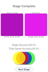 Colorblind iPhone The color swatches are compared and players are scored