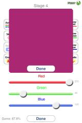 "Colorblind iPhone The game has several hint functions; ""Recall"" lets the player see the original color again"