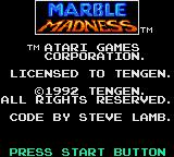 Marble Madness Game Gear Title Screen