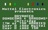 Advanced Dungeons & Dragons Cartridge Intellivision Title Screen