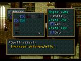 "Wild Arms PlayStation Spells are learned (""bound"") in magic shops. You have to find special crests to be able to bind a spell"