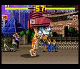 Fatal Fury Special SNES Korea: Joe Higashi performs a weird throw on Kim Kaphwan