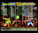 Fatal Fury Special SNES Near the Tower Bridge: Cheng Sinzan and Billy Kane launching projectiles at each other