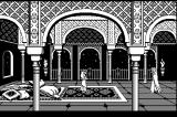 Prince of Persia Macintosh Intro - Jaffar appears (black & white)