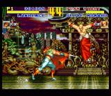 Fatal Fury Special SNES Lawrence Blood tries to stab the immortal Geese Howard