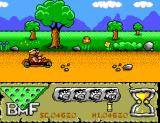 The Flintstones SEGA Master System Jump over the stones or you have to repair a wheel.