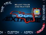 Sno-Cross Championship Racing Windows Time trial : Track selection. The left/right arrows change the track. The up/down arrows change the weather. Not all tracks or weather conditions are available to the new player.