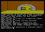 Jewels of Darkness Atari 8-bit Dungeon Adventure: chamber where I discover a dwarf guarded by skeletons