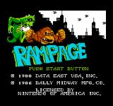 Rampage NES Title Screen