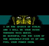 Werewolf: The Last Warrior NES The spirit guide instructs my powerup usage
