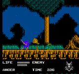 Werewolf: The Last Warrior NES In the forest, ninjas try to stop the werewolf. They will fail.