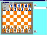 ChessNet 3 Windows 3.x This is the basic game screen. Menu items across the top contain all the game's control options. Here a drop down box shows the customisation options