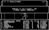 Wizardry: Proving Grounds of the Mad Overlord Commodore 64 Combat with five Skeletons.