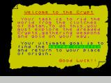 The Crypt ZX Spectrum The game's 'Welcome' screen sets out the objectives.