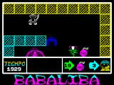 Babaliba ZX Spectrum Monsters are killed by dropping a big bomb and running away. I ran away to another screen after dropping the bomb. The border around the play area flashed indicating that the bomb had detonated