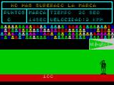 Video Olympics ZX Spectrum The scoreboard shows the qualifying time is 14 seconds. This run was completed in 20 seconds, not fast enough. The player is returned to the menu screen to start again