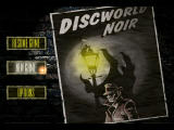 "Discworld Noir Windows Title screen. The bright ball over the ""New Game"" button is your cursor in most screens in the game."