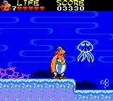 Astérix and the Secret Mission Game Gear Underwater level with aggressive jellyfish