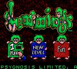 Lemmings Game Gear Title Screen