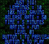 Lemmings Game Gear Level Summary
