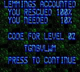 Lemmings Game Gear Mission Accomplished
