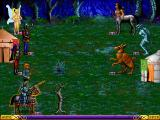 Heroes of Might and Magic Windows Battling enemy hero, which is indicated by mixed units and a tent, on a swamp terrain.