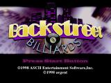 Backstreet Billiards PlayStation Title screen