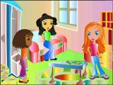 A scene from the animated introduction where the girls get together to hear Cindy's good news