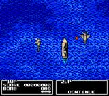 Twin Eagle NES Flying over the ocean on level one