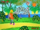 Cindy's Caribbean Holiday Windows The 'Delicious Fruits' mini-game has just started. The player must move their character beneath the descending fruit