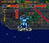 King of the Monsters SNES In order to win, you must force down your opponent, stand on him and wait for the time out.