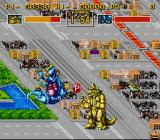 King of the Monsters SNES Smash your opponents heavily around to get power ups.