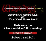 Wizardry: Proving Grounds of the Mad Overlord Game Boy Color Title Screen