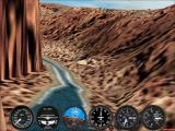 Microsoft Flight Simulator 2002 Windows Flying in the Grand Canyon at high resolution. The change of resolution was made in-game without any need to reload or restart