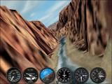 Microsoft Flight Simulator 2002 Windows Flying in the Grand Canyon at 800 x 600 resolution