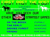 First Past the Post ZX Spectrum This screen displays as the game loads. It pays to advertise