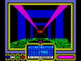 The Empire Fights Back ZX Spectrum The game then plays with itself while the load completes. This is the first in a series of different central panels that are shown while the main shows the player flying down a tunnel