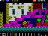 Karnov ZX Spectrum Green demons spitting fireballs while sitting on flying saucer like things