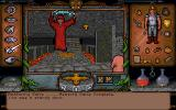 Ultima Underworld: The Stygian Abyss DOS Mano a mano against the evil mage Tyball. He doesn't go down easy...(unless you find the trick to cut off his powers)