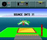 Pilotwings SNES When you complete some special objectives (like landing on a moving target) you get to play a bonus game like this one (bounce on a series of trampolines)...