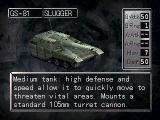 Nectaris: Military Madness  PlayStation Status screen of a Slugger tank unit