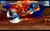 Sango Fighter 2 DOS Zhang Fei is about to be brushed aside by Huang Gai's Sky Sweeper.
