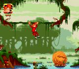 Spirou Genesis Now we're at the swamp, monkey-swinging...