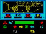 Enigma Force ZX Spectrum Here MAUL, the combat weapons droid has been selected. The colour of his icon changes from green and flashes between yellow & red