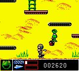 Jim Henson's Muppets Game Boy Color Kermit uses his super high jump move and get the food which give him more health