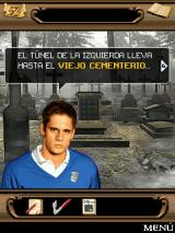 "El Internado Laguna Negra: El Juego Móvil J2ME He's saying: ""The tunnel on the left leads to the old graveyard"""