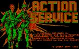 "Combat Course DOS ""Action Service"" title screen (CGA)."